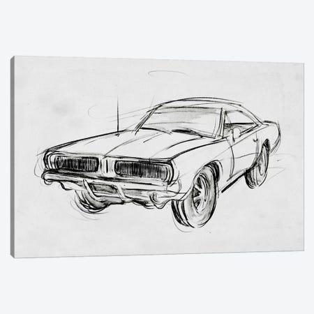 Classic Car Sketch IV Canvas Print #AWR55} by Annie Warren Canvas Print