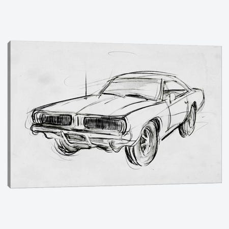 Classic Car Sketch IV Canvas Print #AWR55} by Annie Warren Canvas Print