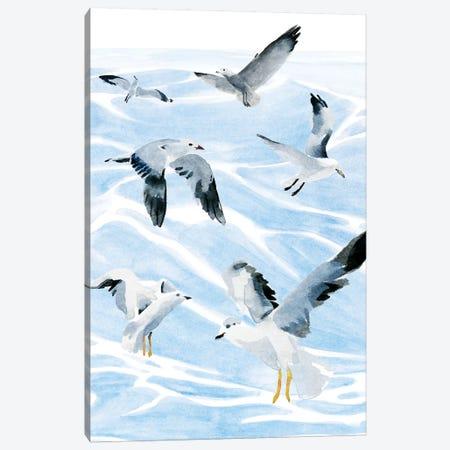 Seagull Soiree I Canvas Print #AWR78} by Annie Warren Canvas Wall Art