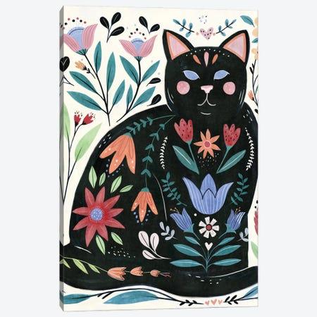 Folksy Feline II Canvas Print #AWR98} by Annie Warren Canvas Artwork