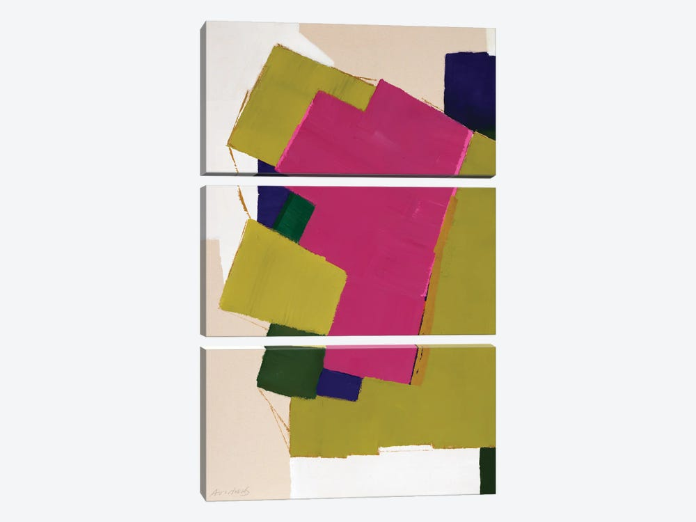 Fuchsia Roof by Annabel Andrews 3-piece Canvas Wall Art