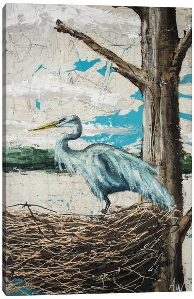 Midway Heron I Canvas Art Print