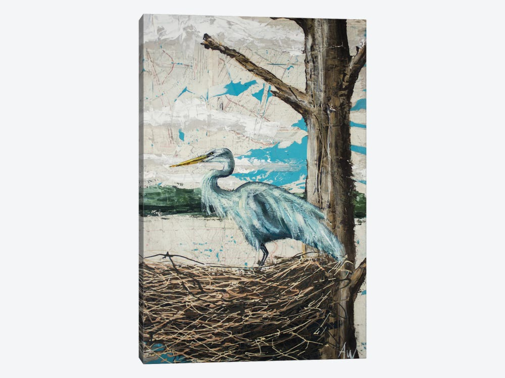 Midway Heron I 1-piece Canvas Print