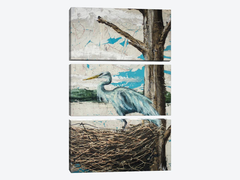 Midway Heron I by Allison Wickey 3-piece Canvas Print
