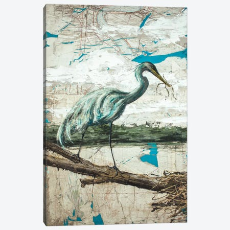 Midway Heron II Canvas Print #AWY2} by Allison Wickey Art Print