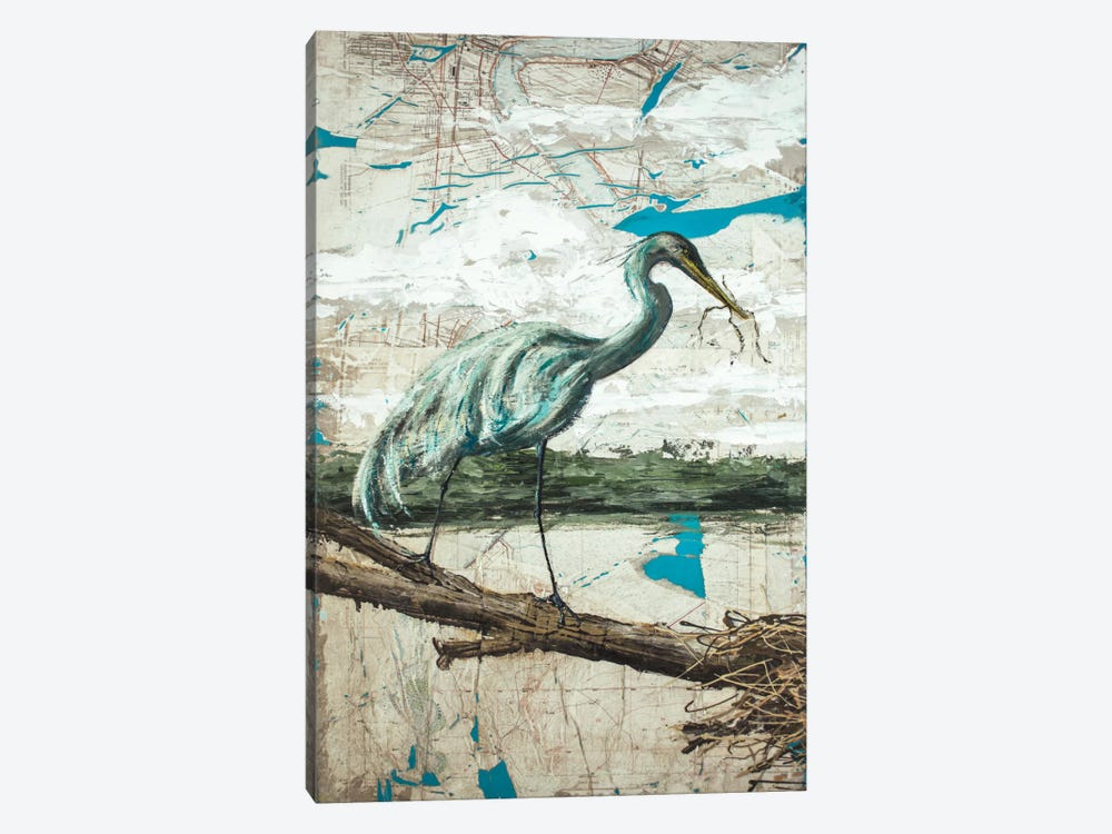 Midway Heron II by Allison Wickey 1-piece Canvas Artwork