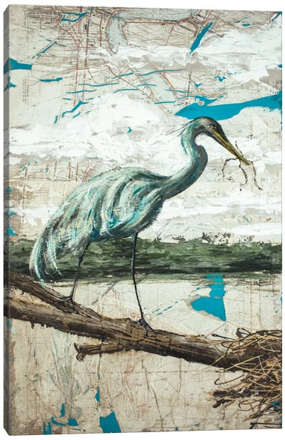 Midway Heron II Canvas Art Print
