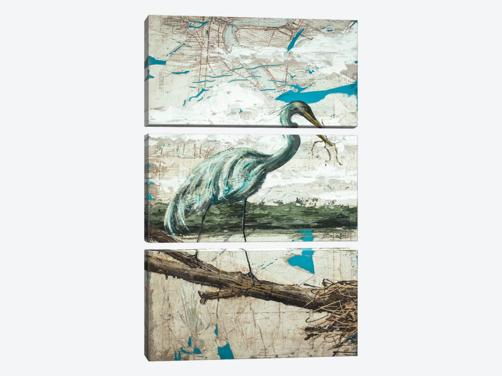 Midway Heron II by Allison Wickey 3-piece Canvas Art