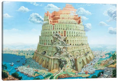 Tower Of Babel In Blue Tones Canvas Art Print