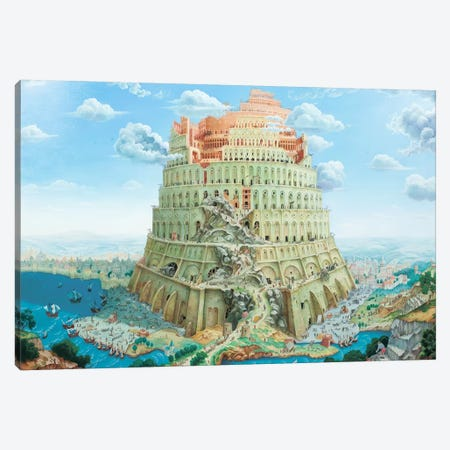 Tower Of Babel In Blue Tones Canvas Print #AXM6} by Alexander Mikhalchyk Canvas Artwork