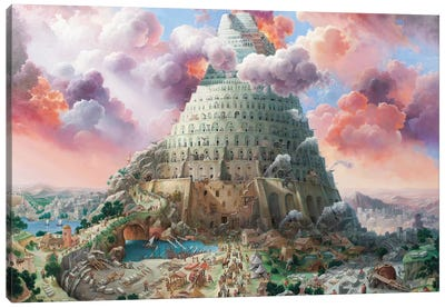 Tower Of Babel In Red Tones Canvas Art Print