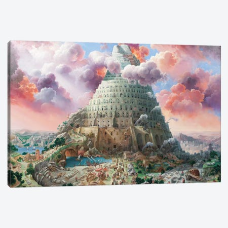 Tower Of Babel In Red Tones Canvas Print #AXM7} by Alexander Mikhalchyk Canvas Artwork