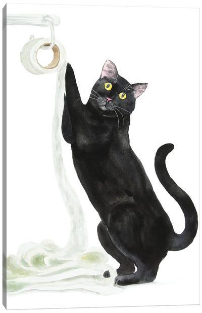 Black Cat And Toilet Paper Canvas Art Print