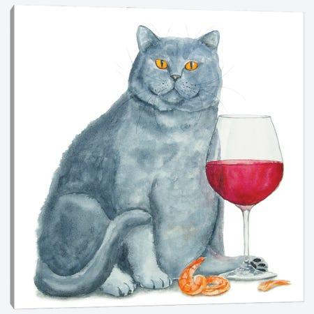 British Cat With Wine Canvas Print #AXS14} by Alexey Dmitrievich Shmyrov Canvas Artwork