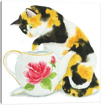 Calico Cat And Teapot Canvas Art Print