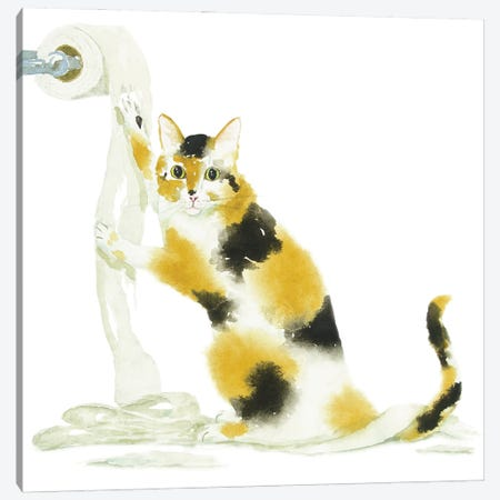 Calico Cat And Toilet Paper Canvas Print #AXS17} by Alexey Dmitrievich Shmyrov Canvas Artwork