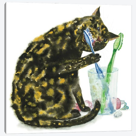 Cat Brushing Teeth Canvas Print #AXS18} by Alexey Dmitrievich Shmyrov Canvas Print