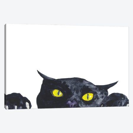 Funny Peeking Black Cat Canvas Print #AXS29} by Alexey Dmitrievich Shmyrov Canvas Art