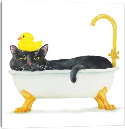 Bathing Black Cat Canvas Art Print