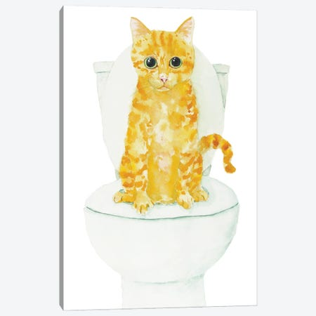 Orange Cat On The Toilet Canvas Print #AXS38} by Alexey Dmitrievich Shmyrov Canvas Print