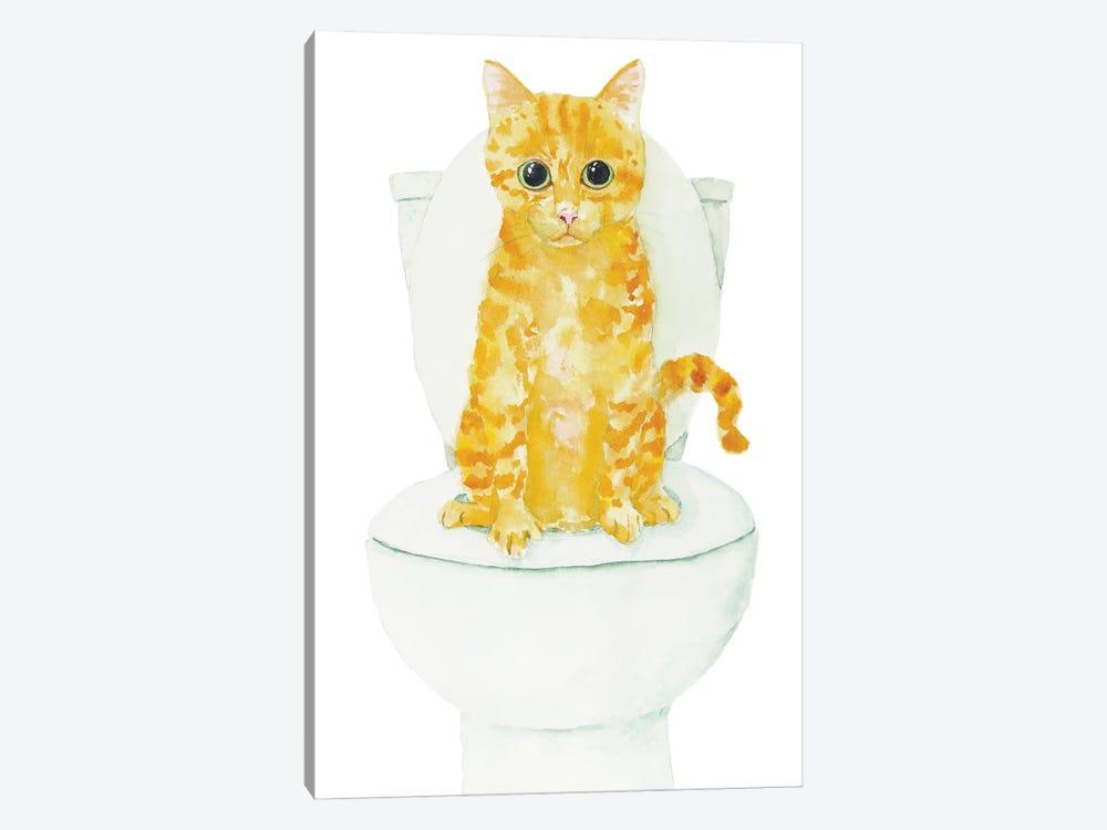 Orange Cat On The Toilet by Alexey Dmitrievich Shmyrov 1-piece Art Print