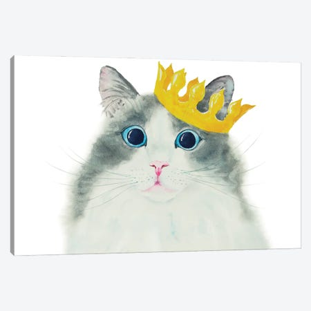 Little King Cat Canvas Print #AXS40} by Alexey Dmitrievich Shmyrov Canvas Artwork