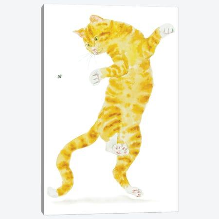 Orange Cat And Fly Canvas Print #AXS42} by Alexey Dmitrievich Shmyrov Canvas Wall Art