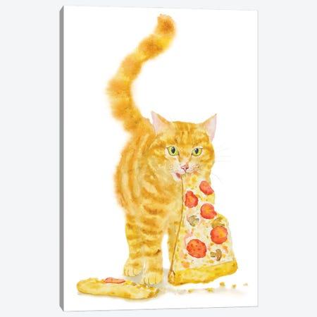 Orange Cat And Pizza Canvas Print #AXS43} by Alexey Dmitrievich Shmyrov Canvas Wall Art