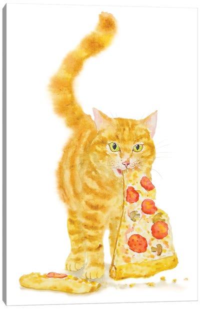 Orange Cat And Pizza Canvas Art Print