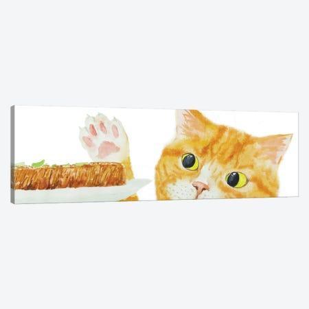 Orange Cat And Steak Canvas Print #AXS44} by Alexey Dmitrievich Shmyrov Art Print