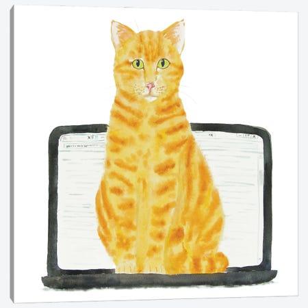 Orange Cat On Laptop Canvas Print #AXS45} by Alexey Dmitrievich Shmyrov Art Print