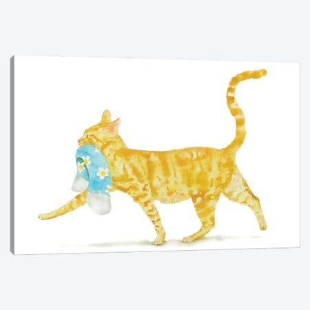 Orange Cat With Sock Canvas Print #AXS47} by Alexey Dmitrievich Shmyrov Art Print