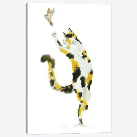 Bird Hunting Calico Cat Canvas Print #AXS4} by Alexey Dmitrievich Shmyrov Canvas Print