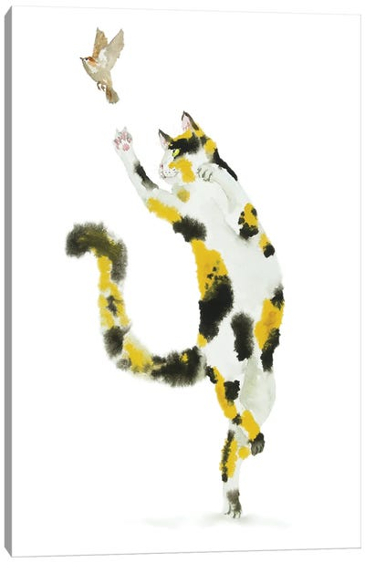 Bird Hunting Calico Cat Canvas Art Print