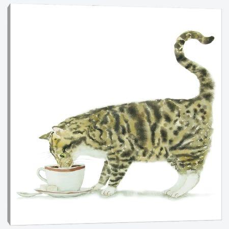 Tabby Cat And Coffee Canvas Print #AXS66} by Alexey Dmitrievich Shmyrov Art Print