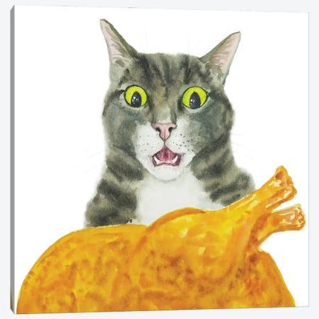Tabby Cat And Fried Chicken Canvas Print #AXS68} by Alexey Dmitrievich Shmyrov Canvas Artwork