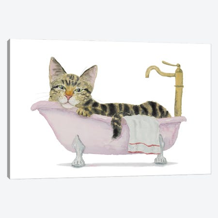 Tabby Cat Bath Time Canvas Print #AXS71} by Alexey Dmitrievich Shmyrov Art Print