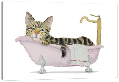 Tabby Cat Bath Time Canvas Art Print
