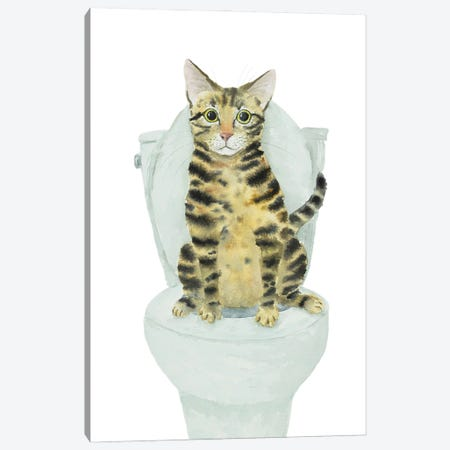 Tabby Cat Toilet Time Canvas Print #AXS77} by Alexey Dmitrievich Shmyrov Canvas Art