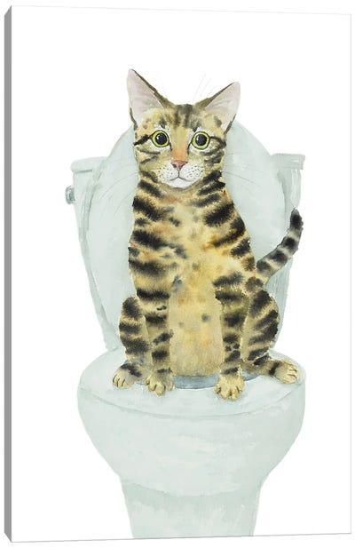 Tabby Cat Toilet Time Canvas Art Print