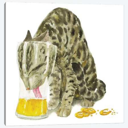 Tabby Cat With Beer Canvas Print #AXS78} by Alexey Dmitrievich Shmyrov Canvas Print