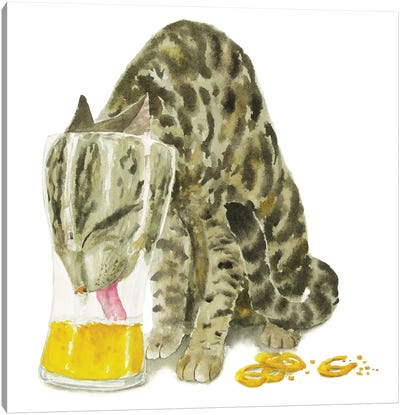Tabby Cat With Beer Canvas Art Print