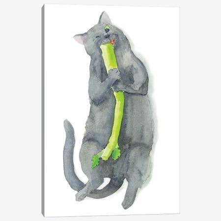 Cat And Celery Canvas Print #AXS86} by Alexey Dmitrievich Shmyrov Canvas Print