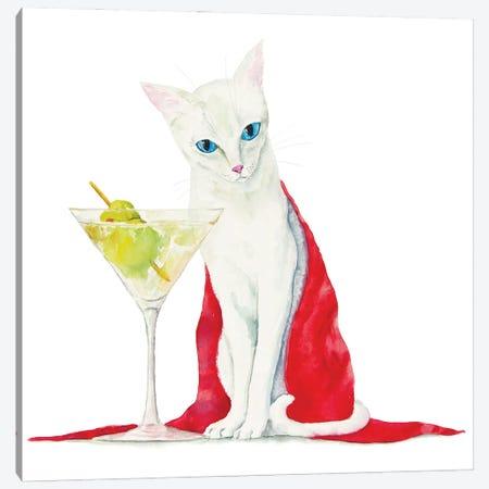 White Cat With Martini Canvas Print #AXS87} by Alexey Dmitrievich Shmyrov Canvas Art Print