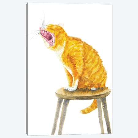 Yawning Orange Cat Canvas Print #AXS88} by Alexey Dmitrievich Shmyrov Canvas Wall Art