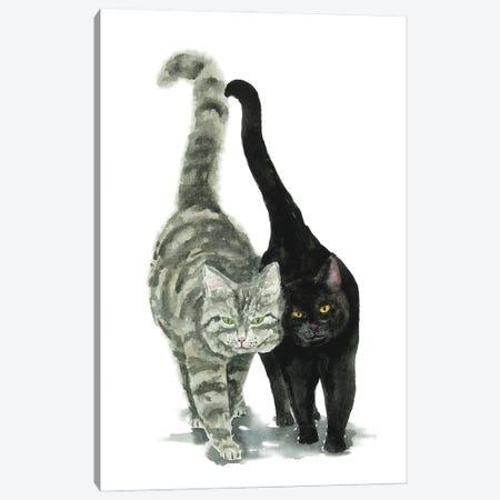 Black Cat And Tabby Cat Canvas Print #AXS9} by Alexey Dmitrievich Shmyrov Canvas Wall Art