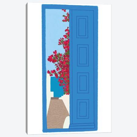 Blue Santorini Door Canvas Print #AYA1} by Amaya Canvas Art