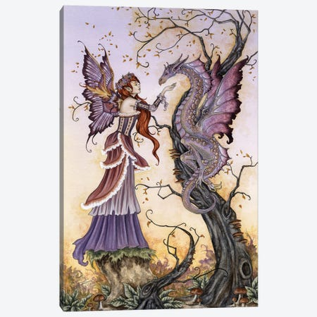 The Dragon Charmer Canvas Print #AYB22} by Amy Brown Canvas Wall Art