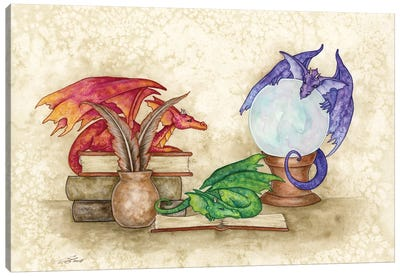 Dragons In The Library Canvas Art Print