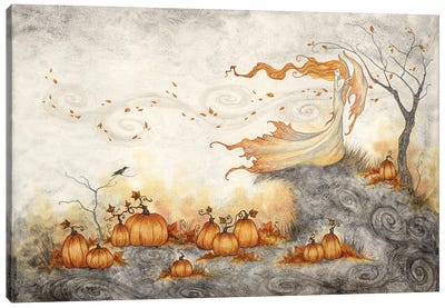 Whispers In The Pumpkin Patch Canvas Art Print